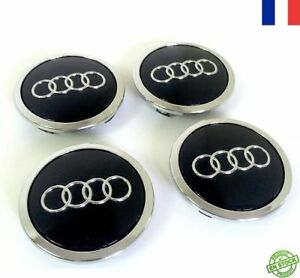 4 logo audi noir cache moyeu de jante centre de roue 69mm embl me ebay. Black Bedroom Furniture Sets. Home Design Ideas