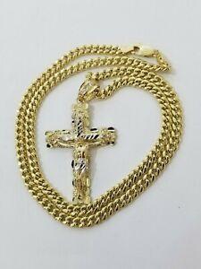 10k Oro Amarillo Miami eslabón cubano cadena colgante collar encanto Set Real 10K 5mm