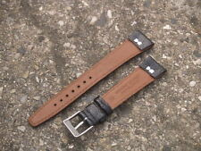 BLACK 18mm OPEN ENDED DENVER CALF LEATHER WATCH STRAP + 2 BUCKLES