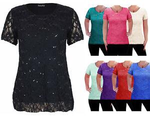 Women-039-s-Plus-Size-Floral-Lace-Sequin-Party-Top-Ladies-Scoop-Neck-T-Dress-Blouse