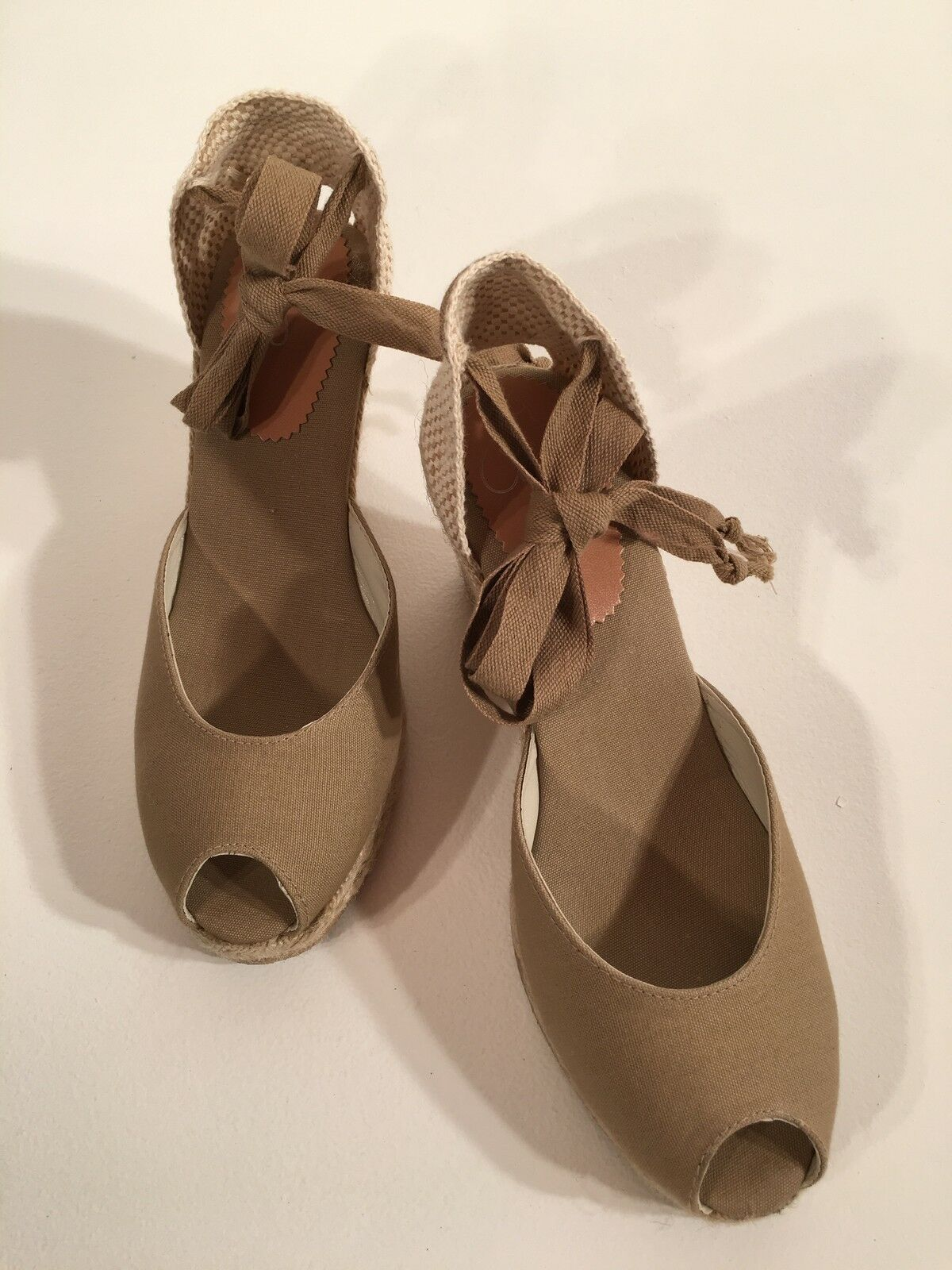 Women's New Peep Toe With Beige Tie Ankle Espadrilles Size 9 M