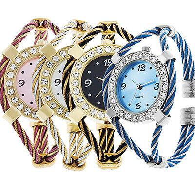 Womens Girls Nice Gift Classic Colorful Golden Quartz Steel Bracelet Wrist Watch