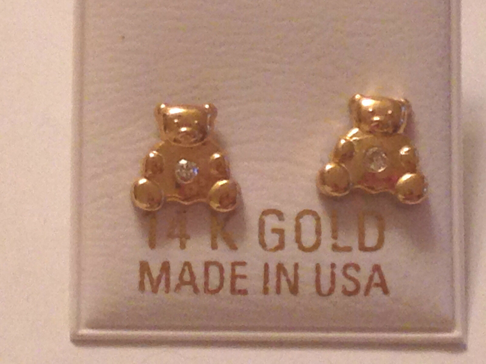 14k YELLOW gold TEDDY BEAR EARRINGS w  BELLY USA TINY JUST 4 U Or A Little 1
