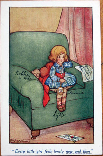 1921 Phyllis M. PalmerArtistSigned Postcard Girl on Chair with Dog