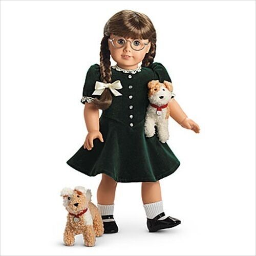 NO American Girl Molly GREEN CHRISTMAS DRESS shoes,socks,dogs or doll