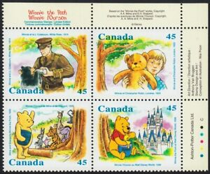 WINNIE-THE-POOH-WALT-DISNEY-WORLD-Top-Block-of-4-MNH-Canada-1996-1621a