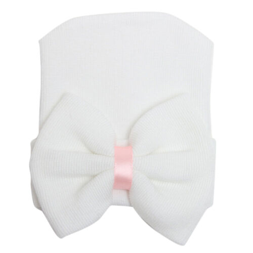 1X Newborn Baby Infant Girl Toddler  Comfy Bowknot Hospital Cap Beanie Hat JDUK