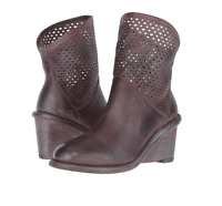 $245 Bed Stu Dutchess Teak Rustic Blue Wedge Ankle Boots Womens 9 M