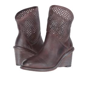 61c273e778a4 NIB  245 BED STU Dutchess Teak Rustic Blue Wedge Ankle Boots Womens ...