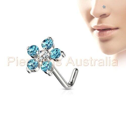 20G CZ Flower L Bend Nose Stud Bar Ring Body Piercing Jewellery