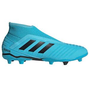 Dettagli su Scarpe calcio fisse senza lacci uomo Adidas PREDATOR 19.3 LL FG G27923 Celeste