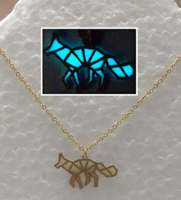 Origami FOX GLOW IN THE DARK Aqua Gold Metal Pendant Charm Abstract Necklace