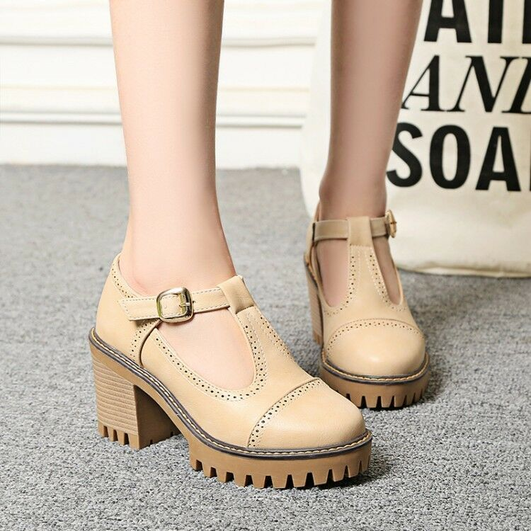 Womens Retro Round Toe Ankle T-strap Mid Mid Mid Block Heels Oxfords Wing Tip shoes deb821