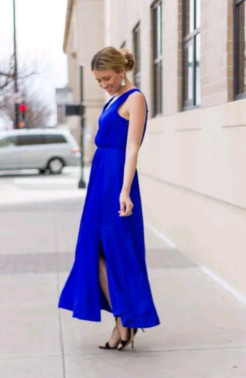 Banana Republic Goddess Maxi Vee Dress Sleeveless Cobalt Royal Blau Größe 6