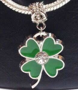 FOUR-LEAF-CLOVER-Bead-For-Euro-Charm-Bracelet-Irish-Celtic-St-Patrick-Luck-K16