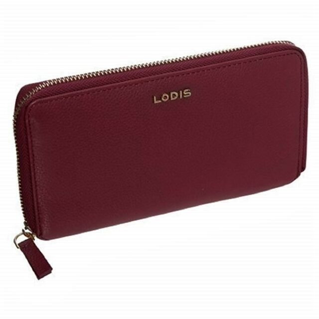 NEW Lodis Dark Red//Silver Pebbled Leather ALANIA Zip Around Wallet