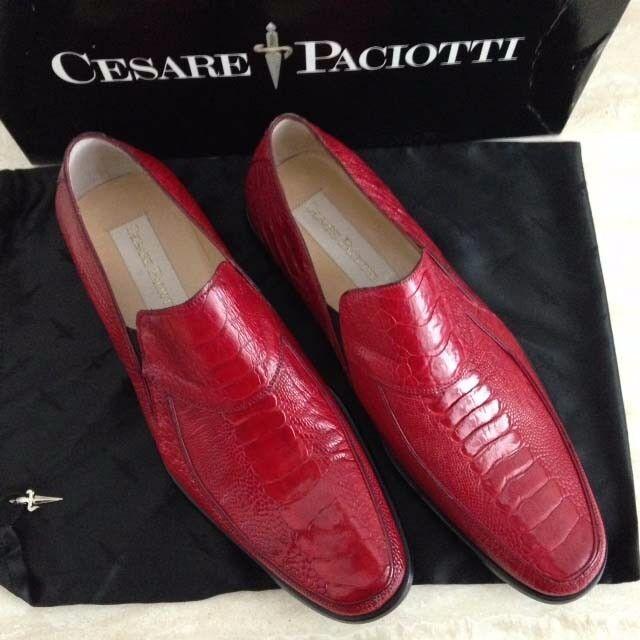 Mens Cesare Paciotti New In Box rosso Ostrich Skin Slipon scarpe, USA Dimensione 8 1 2 D