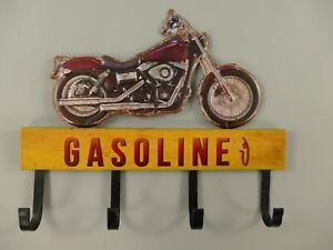 9977734-x Vintage Hook Garderobe Tin Sign Motorcycle Gasoline 31x25cm