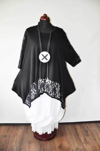 Oversize Lagenlook A Tunika mit Spitze schwarz EG XL,XXL,XXXL Linie