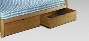 Image Is Loading 2 Underbed Drawers Waxed Wood Pine Wooden Storage
