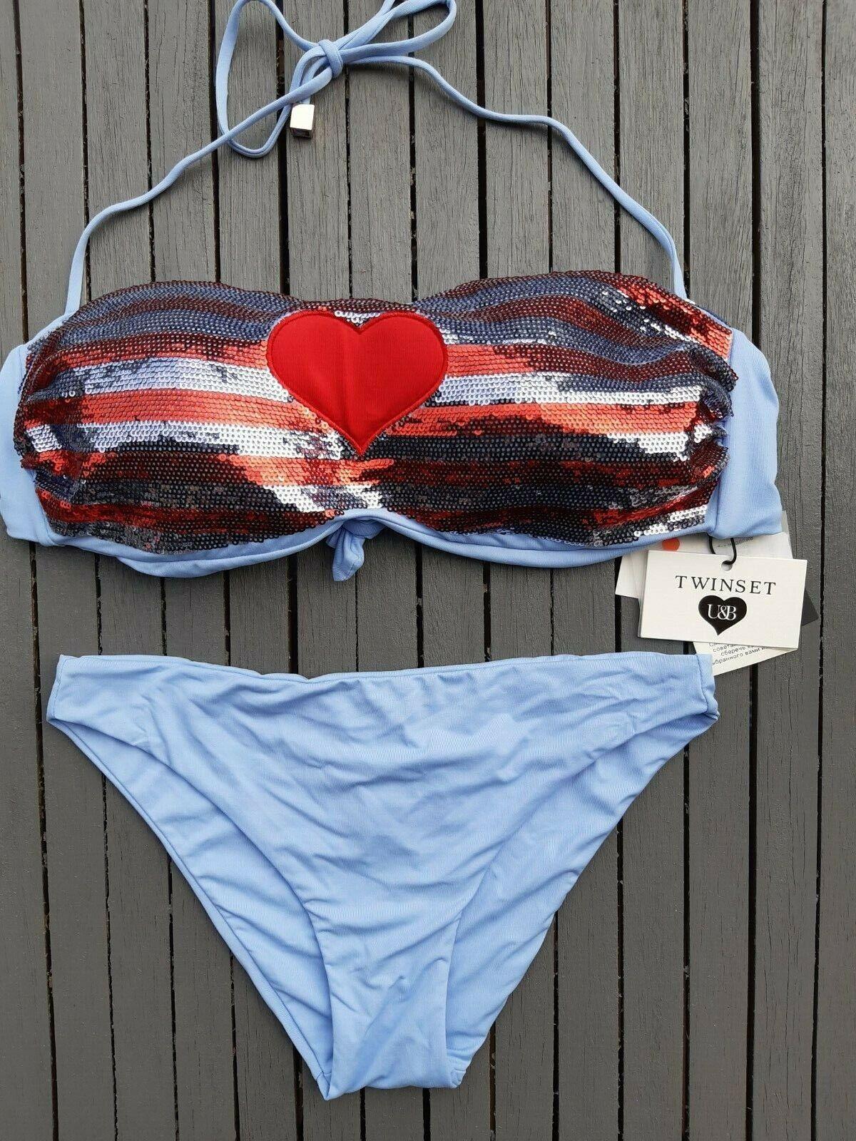 Twinset❤ Bikini mit Pailletten babyblau Bademode Gr.38 M / 85 Cup B Bandeau