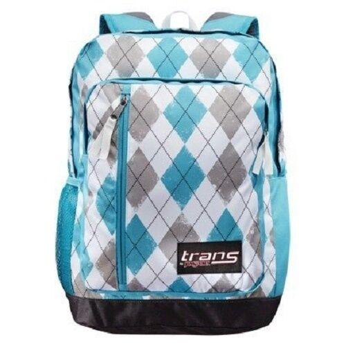 b58343b8b8 JanSport Argyle Blue White Gray Megahertz Backpack Bookbag 18x12x8 for sale  online