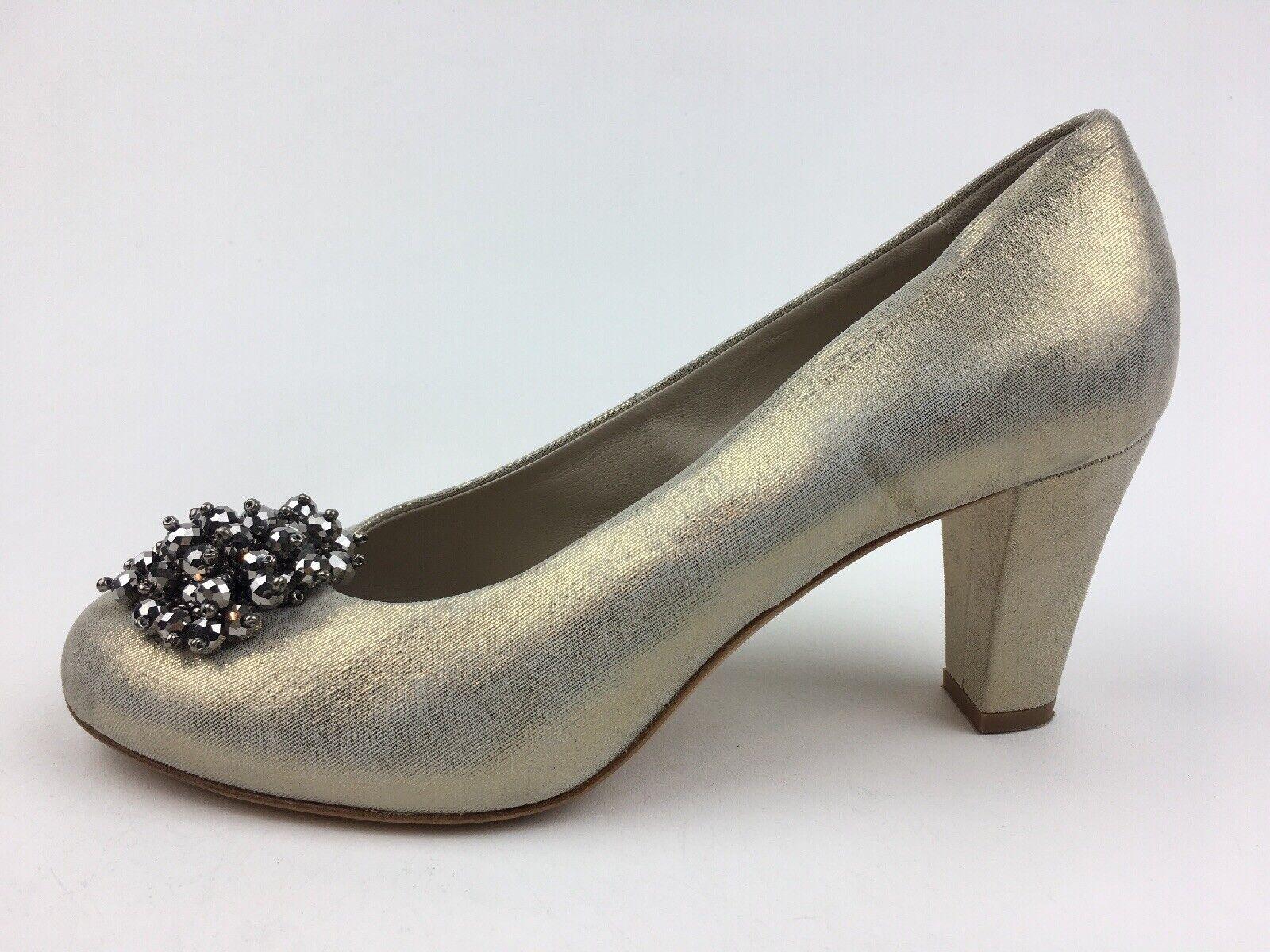 AGL Shimmer Flower Beaded Heel Pumps Size EUR 40, Beige Metallic 2481