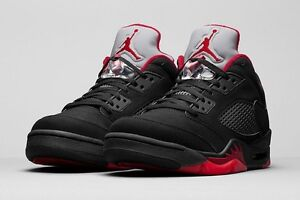 883ae2894af242 Air Jordan 5 V Retro Low GS  Alternate 90  Black Gym Red Black ...