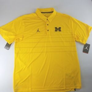 28ad5aa5aee Jordan Michigan Wolverines On Field Dri-Fit Men's Polo Shirt Maize ...