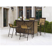 Patio Dining Set Outdoor Garden Furniture Bar Height Table Chairs Yard Deck 5 Pc