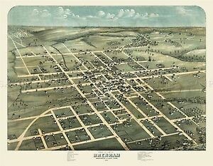 MAP-ANTIQUE-1873-KOCH-BRENHAM-TEXAS-CITY-PLAN-LARGE-REPLICA-POSTER-PRINT-PAM1924