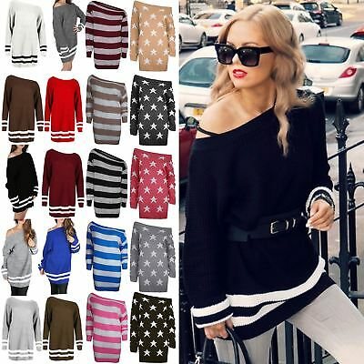 Womens Ladies Off Shoulder Oversized Chunky Cable Knit Bardot Jumper Dress Top