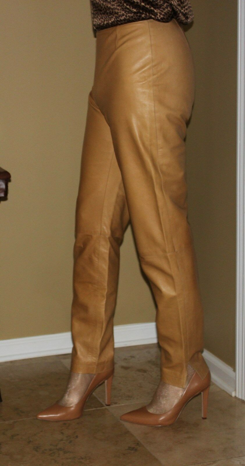 Lafayette 148 New York Beige Soft Leather Pants Size 6 Inseam 31