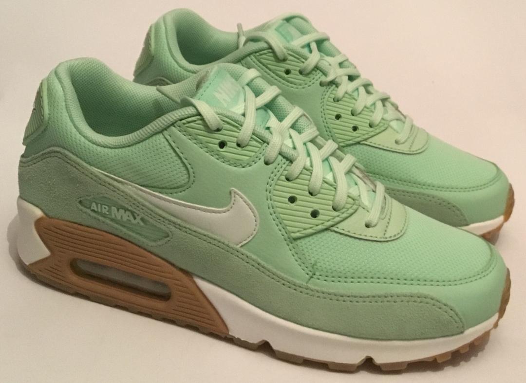 Nike donna Scarpe da ginnastica Air Max 90-verde Bianco Gum - - Nuovo di Zecca a UK7.5