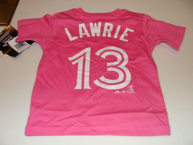 2013 Toronto Blue Jays Brett Lawrie MLB 4T Girls Child Pink T Shirt Name Kids