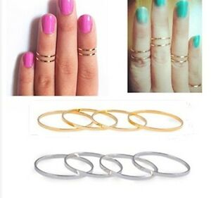 5PC-Set-Urban-stack-Plain-Cute-Above-Knuckle-Band-Midi-ring-3-size-HS55