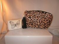 Luminess Air 8x5 Leopard Print Canvas Coated Pouch Makeup Foundation Travel Bag
