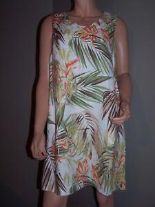 J-JILL-Love-Linen-Tropical-Palm-White-Green-Floral-Pockets-Shift-Dress-Size-S
