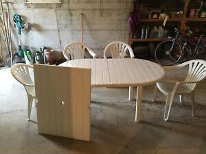 table de jardin plastique, blanche+ 4 chaises + une rallonge | eBay