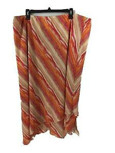 Dress U by Sharon skirt Size 3X orange tan stripe angled stretch waist lined
