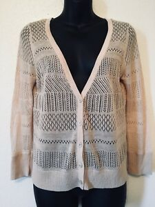 Worthington-Net-Cardigan-Sweater-Tan-Cream-Beige-Womens-Size-Medium