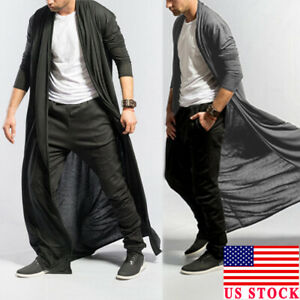 US-Full-Length-Adult-Men-Baggy-Casual-Coat-Cape-Loose-Long-Cardigan-Cloak-Tops