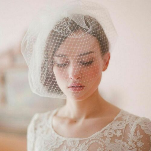 Women/'s bridal wedding veil hat solid color two layers fishnet mesh hair clips