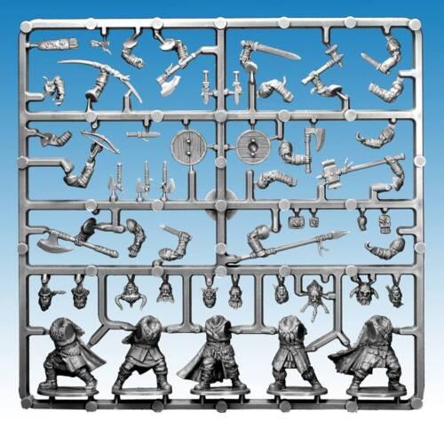5 PLASTIC MULTI PART FIGURES FROSTGRAVE BARBARIAN SPRUE 28MM