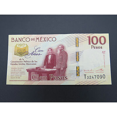 1917 2017 100 MEXICAN PESOS BANK NOTE COMMEMORATIVE BILL 100 YEARS ANNIVERSARY