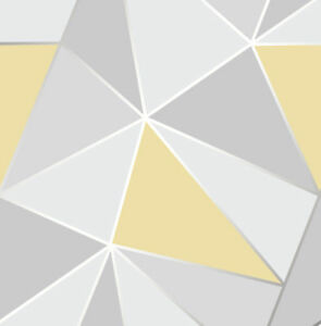 Image Is Loading Grey Yellow Geometric Wallpaper Apex Triangle Modern