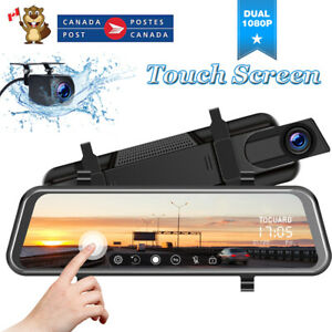 """TOGUARD Dash Cam 10"""" Mirror Backup Camera Dual Lens Front +Rear Touch Screen CA"""
