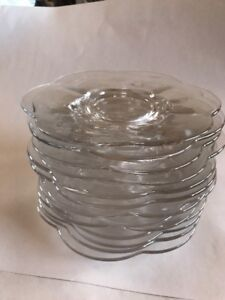 Glass Dish Plates Lot 13 Desert Cake Appetizer Mint Condition Round Design