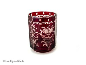 Antique-Bohemian-Ruby-Red-Cut-to-Clear-Art-Glass-Floral-Cup-or-Toothpick-Holder