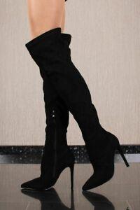 Damen Velours Overknee Stiefel mit Stiletto-Absatz Schwarz #3804-8